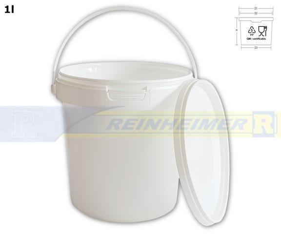 Kunstsoffeimer 1,2-Liter, mit Deckel