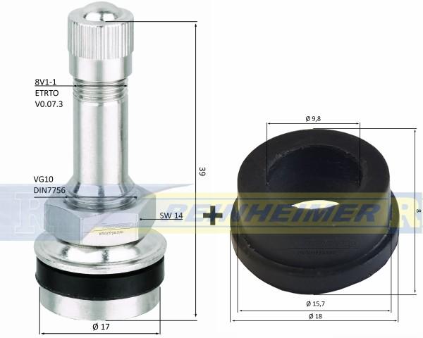 PKW-Felgenventil 40MS/11,3 und 15,7mm